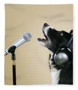 Border Collie Dog Singing Fleece Blanket