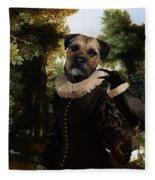 Border Terrier Art Canvas Print Fleece Blanket
