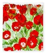 Bordered Red Tulips Fleece Blanket