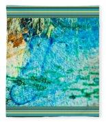Borderized Abstract Ocean Print Fleece Blanket