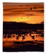 Bosque Del Apache Sunrise 1 Fleece Blanket