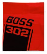 Boss 302 Emblem On A Car Fleece Blanket