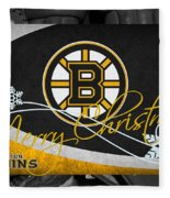 Boston Bruins Christmas Fleece Blanket