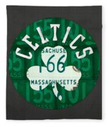Boston Celtics Basketball Team Retro Logo Vintage Recycled Massachusetts License Plate Art Fleece Blanket