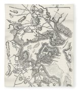 Boston: Map, 1775-1776 Fleece Blanket