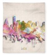Boston Painted City Skyline Fleece Blanket