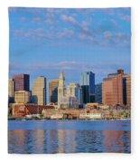 Boston Skyline And Harbor, Massachusetts Fleece Blanket