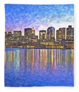 Boston Skyline By Night Fleece Blanket