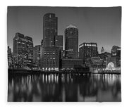 Boston Skyline Seaport District Bw Fleece Blanket