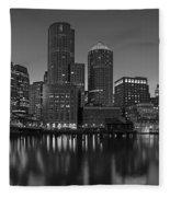 Boston Skyline Seaport District Bw Fleece Blanket