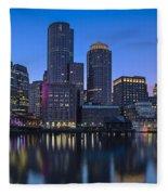 Boston Skyline Seaport District Fleece Blanket