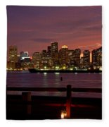 Boston Skyline Sunset Fleece Blanket