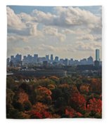 Boston Skyline View From Mt Auburn Cemetery Fleece Blanket