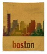 Boston Skyline Watercolor On Parchment Fleece Blanket