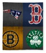 Boston Sports Fan Recycled Vintage Massachusetts License Plate Art Patriots Red Sox Bruins Celtics Fleece Blanket