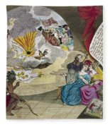 Boston Tea Party Cartoon Fleece Blanket