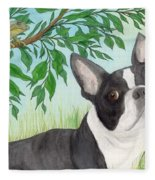 Boston Terrier Dog Tree Frog Cathy Peek Art Fleece Blanket
