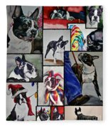 Boston Terrier Watercolor Collage Fleece Blanket