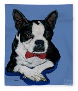 Boston Terrier With A Bowtie Fleece Blanket