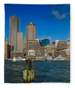 Boston Waterfront Skyline Fleece Blanket