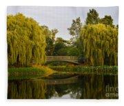 Botanic Garden Bridge At Dusk Fleece Blanket