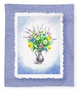 Botanical Impressionism Watercolor Bouquet Fleece Blanket