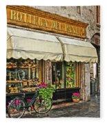Bottega Del Pane Italian Bakery And Bicycle Fleece Blanket