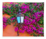 Bougainvillea And Lamp, Mexico Fleece Blanket