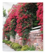 Bougainvillea Wall In San Francisco Fleece Blanket