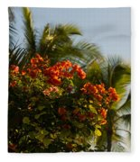 Bougainvilleas And Palm Trees Swaying In The Wind In Waikiki Honolulu Hawaii Fleece Blanket
