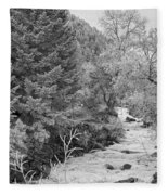 Boulder Creek Winter Wonderland Black And White Fleece Blanket