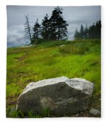 Boulder On The Shore At The Mount Desert Narrows In Maine Fleece Blanket