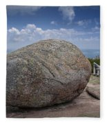 Boulder On Top Of Cadilac Mountain In Acadia National Park Fleece Blanket
