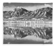 Boulder Reservoir Flatirons Reflections Boulder Co Bw Fleece Blanket