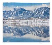 Boulder Reservoir Flatirons Reflections Boulder Colorado Fleece Blanket