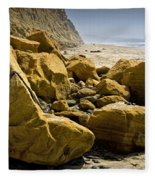 Boulders On The Beach At Torrey Pines State Beach Fleece Blanket