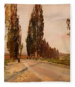 Boulevard Of Poplars Near Plankenberg Fleece Blanket