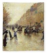 Boulevard Poissonniere In The Rain, C.1885 Oil On Canvas Fleece Blanket