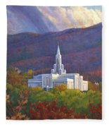 Bountiful Temple In The Mountains Fleece Blanket