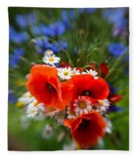 Bouquet Of Fresh Poppies Camomiles And Cornflowers Fleece Blanket