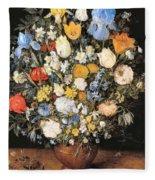 Bouquet In A Clay Vase Fleece Blanket
