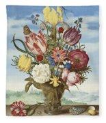 Bouquet Of Flowers On A Ledge Fleece Blanket