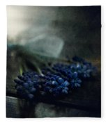 Bouquet Of Grape Hyiacints On The Dark Textured Surface Fleece Blanket