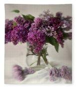 Bouquet Of Lilacs In A Glass Pot Fleece Blanket