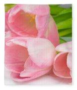 Bouquet Of Pink Tulips. Fleece Blanket