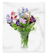 Bouquet Of Sweet Pea Flowers Fleece Blanket