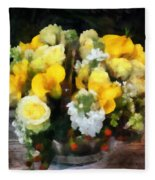 Bouquet With Roses And Calla Lilies Fleece Blanket