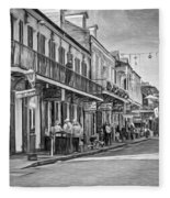 Bourbon Street Afternoon - Paint Bw Fleece Blanket