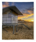 Bournemouth Beach Sunrise Fleece Blanket