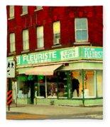 Boutique Fleuriste Coin Vert St Henri Flower Shop Notre Dame Montreal Urban Scenes Carole Spandau  Fleece Blanket